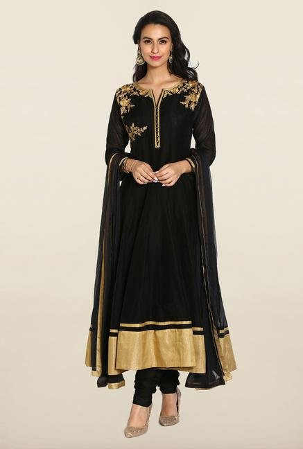 Soch Black & Gold Anarkali Chudidhar Suit Set