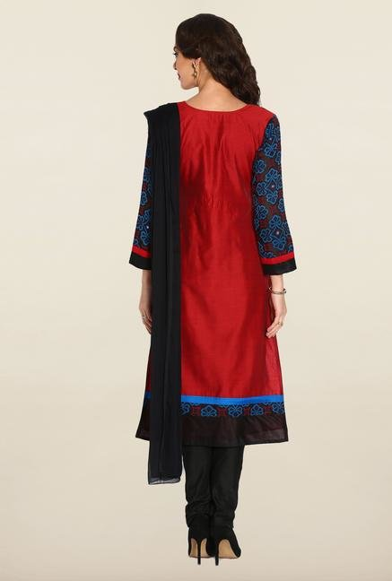Soch Red & Black Chudidhar Suit Set