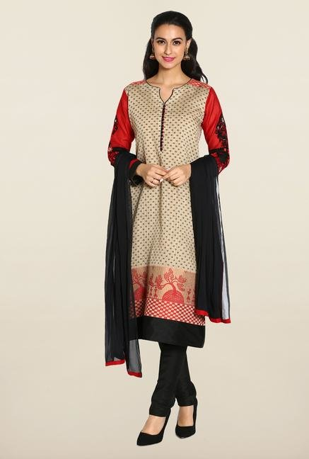 Soch Beige & Red Chudidhar Suit Set