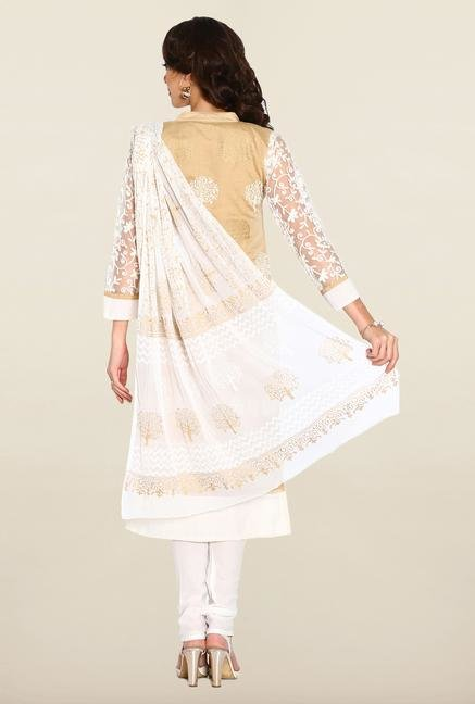 Soch Beige & White Chudidhar Suit Set