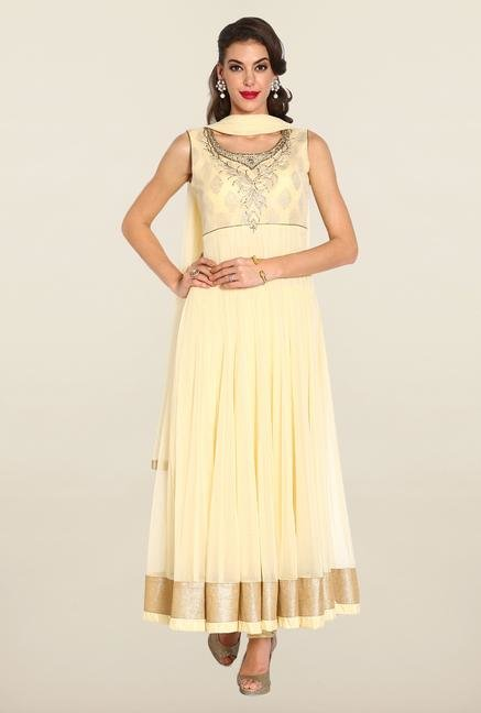 Soch Cream & Gold Anarkali Chudidhar Suit Set