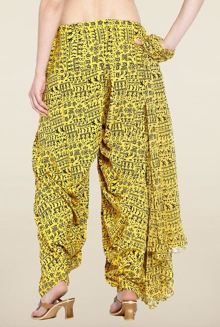 Soch Yellow Printed Patiala Dupatta Set