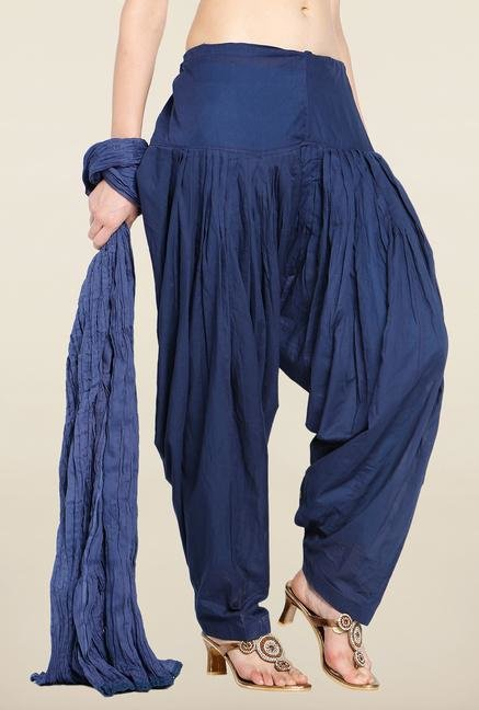 Soch Navy Blue Solid Patiala Dupatta Set