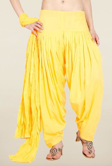 Soch Yellow Solid Patiala Dupatta Set