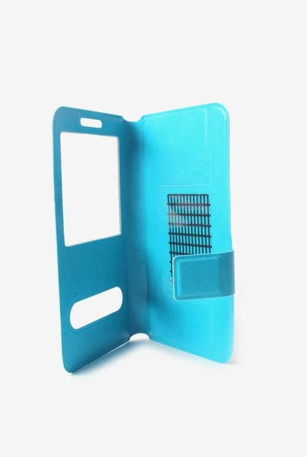 Callmate Window Sticker Flip Cover Sky Blue For Asha 502