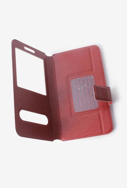 Callmate Window Sticker Flip Cover Dark Brown For Asha 502