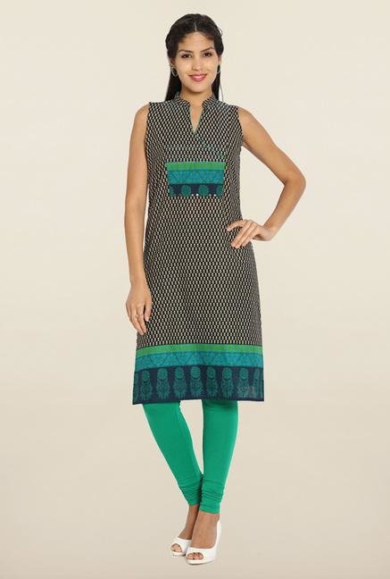 Soch Black & Green Printed Cotton Kurti