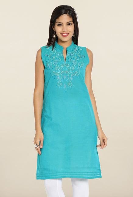 Soch Blue & Gold Embroidered Floral Kurti