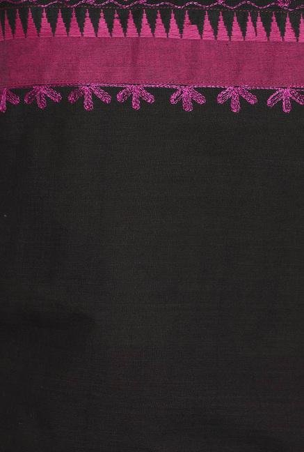 Soch Black & Purple Embroidered Cotton Kurti
