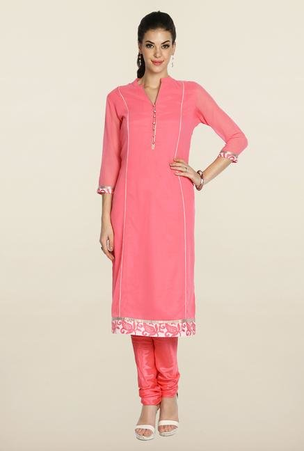 Soch Peach Georgette Embroidered Suit Set