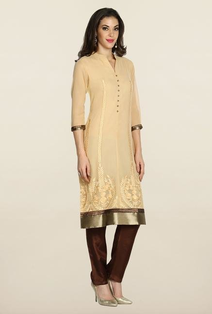 Soch Beige & Brown Embroidered Suit Set