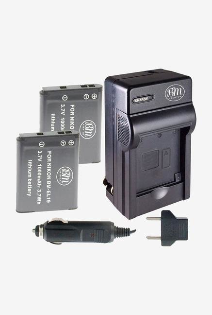 Bm Premium 2 Pack Of En-El19, Enel19 Battery & Charger Kit For Nikon Coolpix