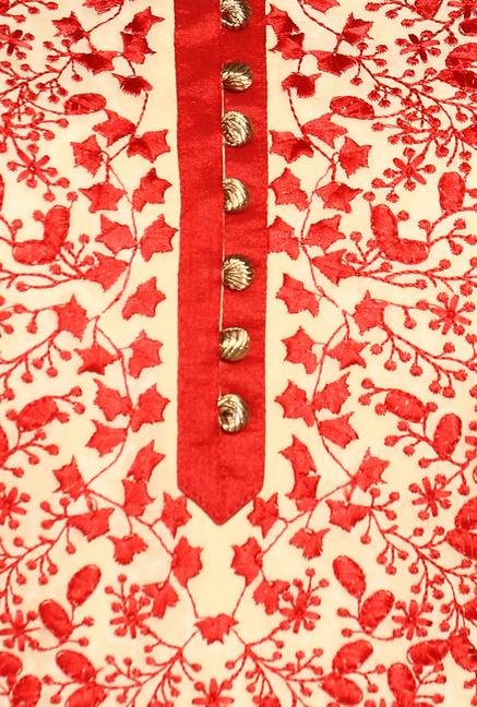 Soch Beige & Red Embroidered Suit Set