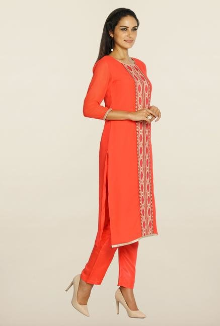 Soch Orange & White Embroidered Suit Set
