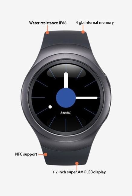 Samsung SM-R7200ZKAINU Gear S2 Regular Smartwatch (Black)