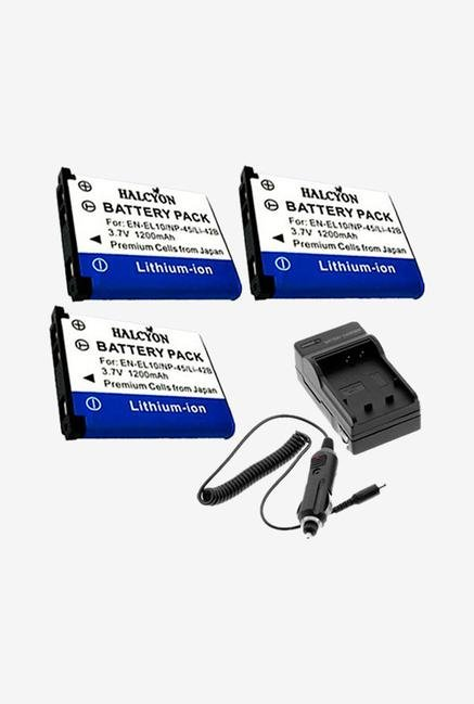 Three Halcyon 1200 Mah Lithium Ion Replacement Battery And Charger Kit For Olympus Stylus Tough