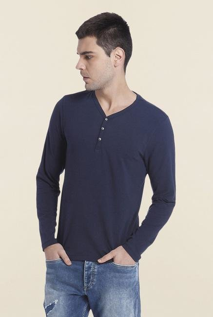 Jack & Jones Navy Solid Henley T Shirt