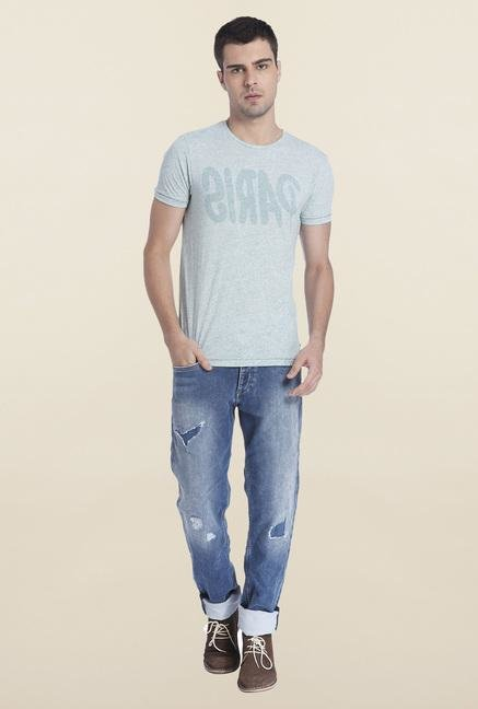 Jack & Jones Blue Textured Crew Neck T Shirt