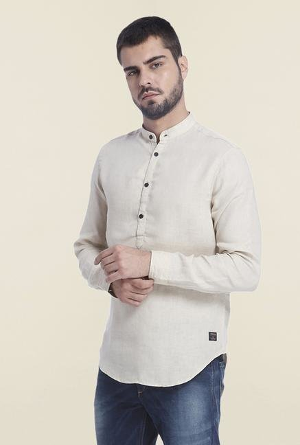 Jack & Jones Beige Solid Linen Shirt