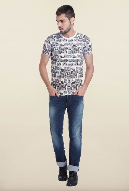 Jack & Jones White Slim Fit Printed T Shirt