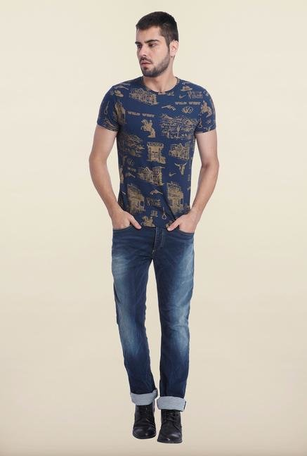 Jack & Jones Navy Cotton Printed T Shirt