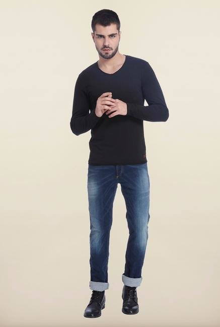 Jack & Jones Black V Neck Solid T Shirt