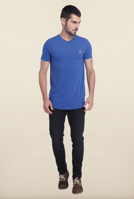 Jack & Jones Surf Blue Printed Cotton T Shirt