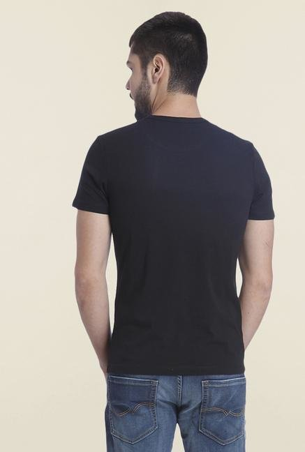 Jack & Jones Black Slim Fit Printed T Shirt