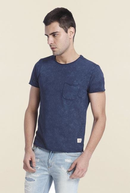 Jack & Jones Dark Blue Cotton Shaded T Shirt
