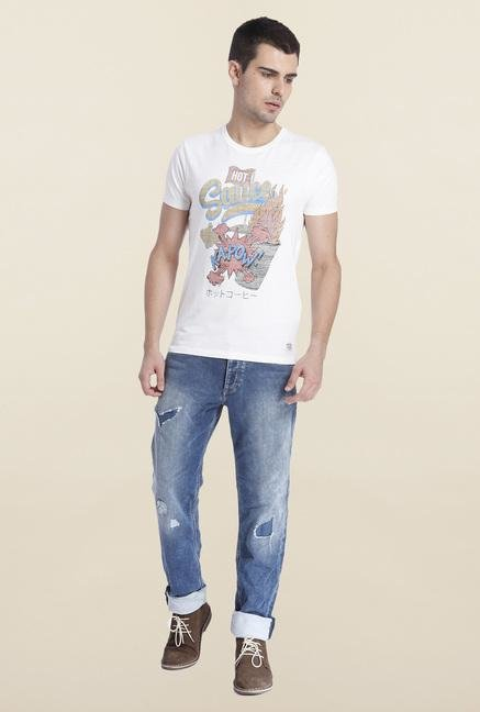 Jack & Jones White Cotton Crew Neck T Shirt