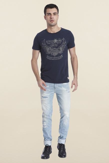 Jack & Jones Grey Cotton T Shirt