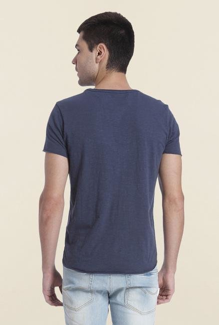 Jack & Jones Indigo Printed Slim Fit T Shirt