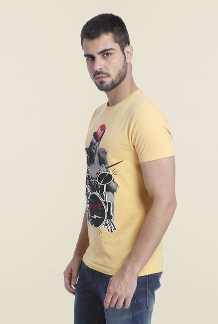 Jack & Jones Yellow Slim Fit Printed T Shirt