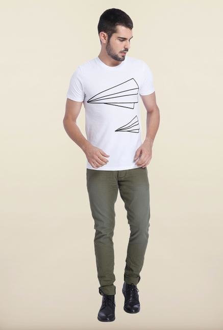 Jack & Jones White Crew Neck Printed T Shirt