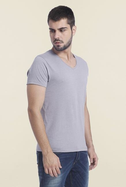 Jack & Jones Grey Denim V Neck T Shirt