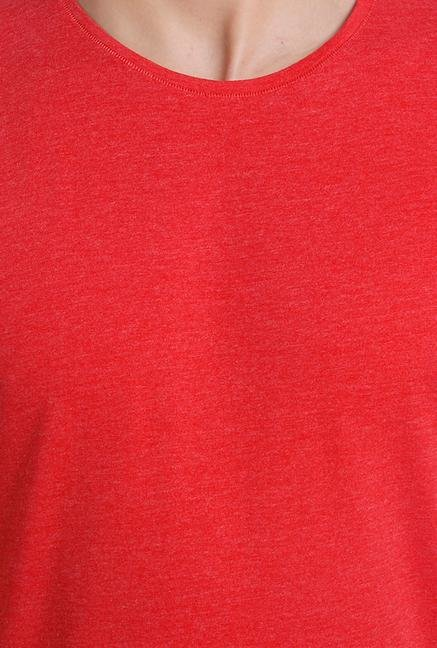 Jack & Jones Red Crew Neck Cotton T Shirt