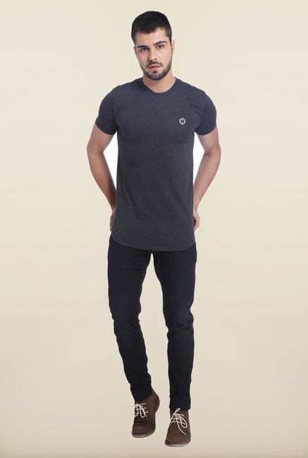 Jack & Jones Black Printed Cotton T Shirt
