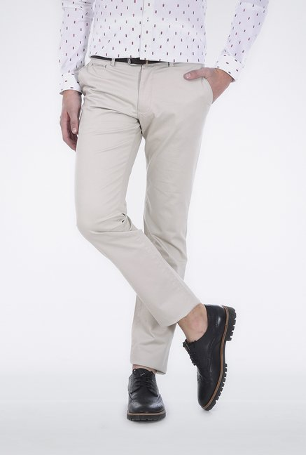 Basics Ecru Slim Fit Trouser