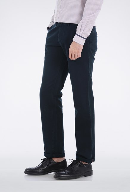Basics Blue Dobby Weave Casual Trouser