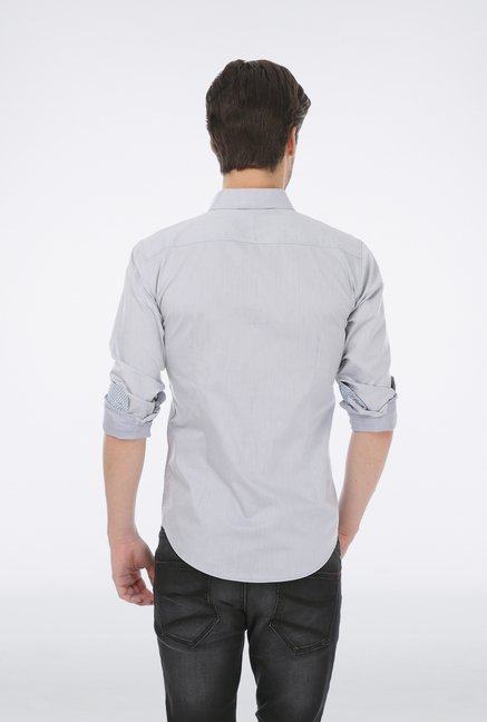 Basics Light Grey Dobby Wovem Shirt
