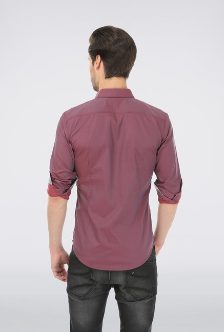 Basics Purple Slim Fit Shirt
