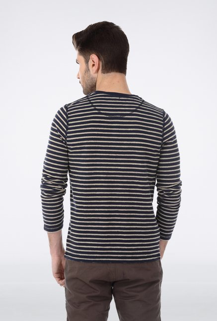 Basics Navy Henley Neck T Shirt