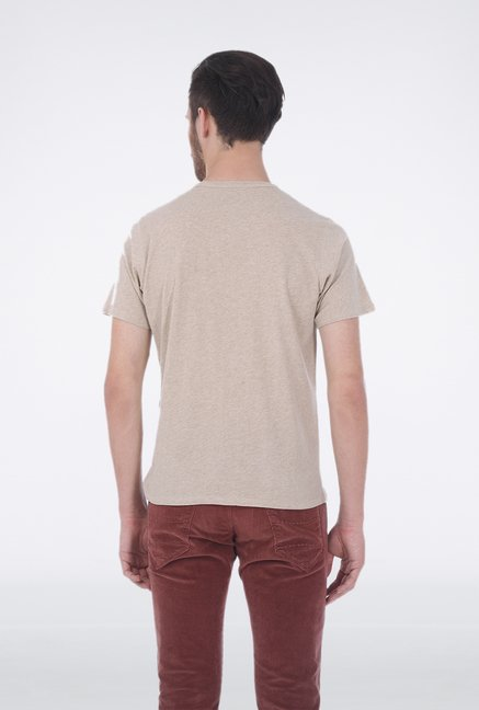 Basics Ecru Henley Neck T Shirt