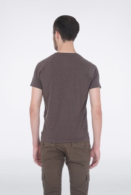 Basics Brown Henley Neck T Shirt