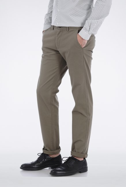 Basics Green Ribbed Trouser