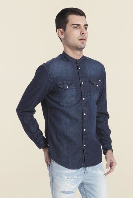 Jack & Jones Blue Denim Cotton Shirt