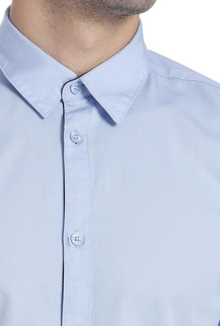Jack & Jones Blue Cotton Solid Shirt