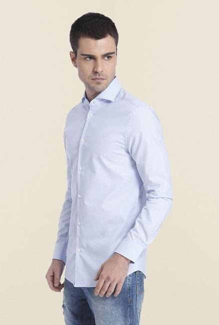 Jack & Jones Blue Solid Cotton Shirt
