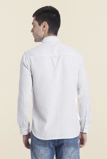 Jack & Jones White Cotton Printed Shirt