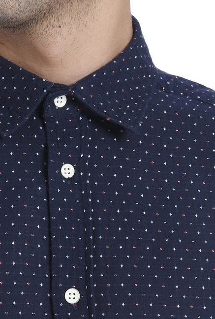 Jack & Jones Navy Printed Slim Fit Shirt